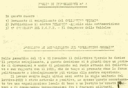 1975 | Documento di scioglimento del Collettivo Operaio (Foglio di informazione n°4. P.d.U.P)