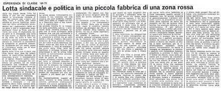 1971 | Esperienza di classe '69-'71. Lotta sindacale e politica in una piccola fabbrica della zona rossa